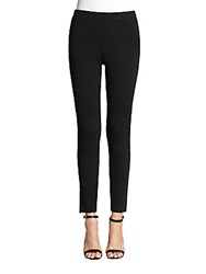 St. John Stretch Knit And Leather Leggings Caviar