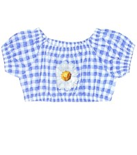 Monnalisa Checked Cotton Crop Top Blue