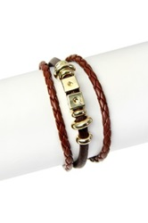 Saachi Brown Braided Faux Leather Dice Bracelet