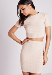 Missguided Round Neck Bandage Ribbed Crop Top Nude Beige