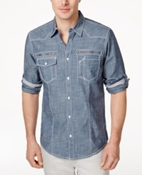 Inc International Concepts Men's Long Sleeve Jeff Shirt Only At Macy's Blue Combo