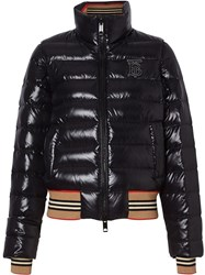 Burberry Detachable Sleeve Icon Stripe Detail Puffer Jacket Black