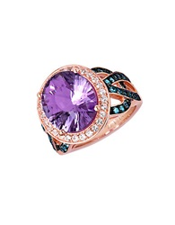 Levian 14 Kt. Strawberry Gold Pink Amethyst And Blue Topaz Ring Amethyst Topaz Rose Gold