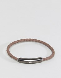 Emporio Armani Leather Bracelet In Brown