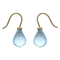 Nina B 9Ct Gold Checkerboard Topaz Drop Earrings Ice Blue
