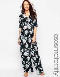 Asos Maternity Scallop Wide Leg Jumpsuit In Floral Print Multi