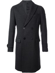 Emporio Armani Double Breasted Overcoat Grey