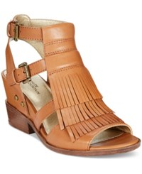 White Mountain Saga Fringe Dress Sandals Women's Shoes Luggage Tan