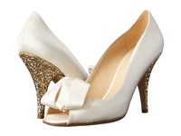 Kate Spade Clarice Ivory Satin Gold Glitter Women's Toe Open Shoes White