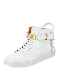 Buscemi 100Mm Golden Padlock Sneakers White