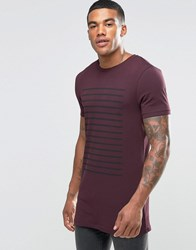 Asos Longline Muscle T Shirt With Stripe In Oxblood Oxblood Red