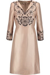Tory Burch Embellished Silk Gazar Dress Blush