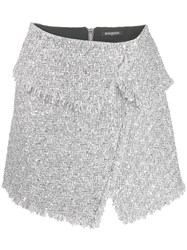 Balmain Asymmetric Tweed Mini Skirt Silver