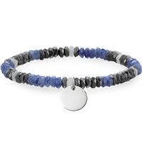 Thomas Sabo Love Bridge Sterling Silver Dumortierite Jade And Haematite Bracelet