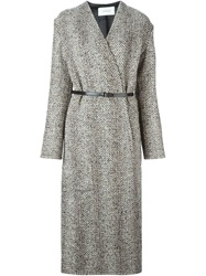 Lemaire Long Belted Wrap Coat Nude And Neutrals