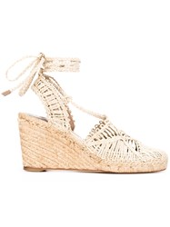 Paloma Barcelo Braided Wedge Espadrilles Women Raffia Leather 38 Nude Neutrals