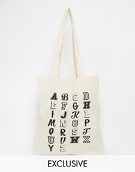 Reclaimed Vintage Alphabet Canvas Tote Bag Beige