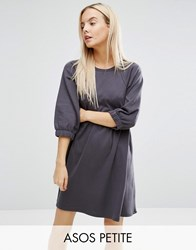 Asos Petite Cotton Smock Dress With Elastic Cuff Detail Grey
