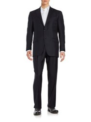 Hart Schaffner Marx Two Button Navy Wool Suit