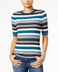 Tommy Hilfiger Ribbed Crew Neck Top Only At Macy's Grey Combo