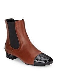 Tod's Two Tone Perforated Cap Toe Leather Ankle Boots Brown