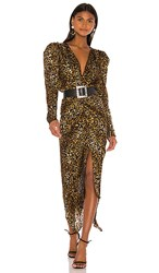 Torn By Ronny Kobo Astrid Dress In Brown. Taupe Multi