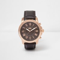 River Island Brown Rose Gold Tone Contrast Watch