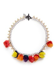 Venna Pompom Glass Crystal Chain Necklace Multi Colour