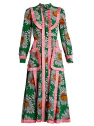 Gucci Daisy Print Silk Crepe De Chine Midi Dress Green Print