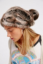 Free People Womens Faux Fur Slouchy Beanie