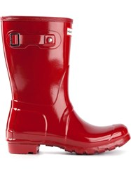 Hunter 'Original Short Gloss Wellington' Boots Red