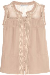Chelsea Flower Embellished Chiffon And Lace Top Taupe