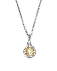 Judith Ripka Round Pave Pendant Necklace With White Sapphire And Canary Crystal 17 Yellow Silver