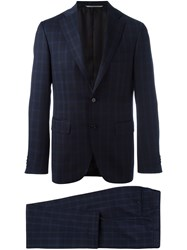 Canali Checked Suit Blue