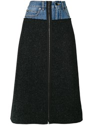 Maison Martin Margiela Denim Waist A Line Skirt Cotton Virgin Wool Black