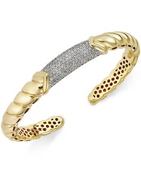 Macy's Diamond Pave Bangle Bracelet 7 8 Ct. T.W. In 14K Gold Over Sterling Silver No Color