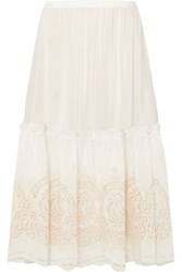 Stella Mccartney Tiered Broderie Anglaise Silk Midi Skirt Ivory