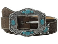 Ariat Floral Embossed Turquoise Cross Concho Belt Brown Women's Belts