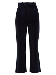 Hillier Bartley Flared Cotton Corduroy Trousers Navy