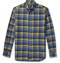 Gitman Brothers Vintage Button Down Collar Checked Brushed Cotton Flannel Shirt Blue
