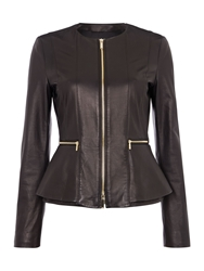 Hugo Boss Sakira Peplum Leather Jacket Black