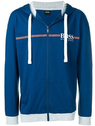 Hugo Boss Zipped Logo Hoodie Blue