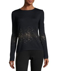 St. John Lightweight Embellished Santana Knit Sweater Black Gold