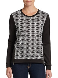 Saks Fifth Avenue Red Printed Neoprene Paneled Pullover Grey