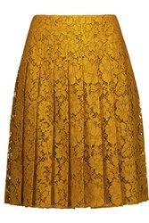 Prada Pleated Cotton Blend Guipure Lace Skirt Saffron