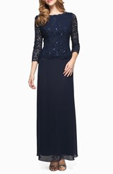 Alex Evenings Women's Sequin Lace And Chiffon Gown Navy