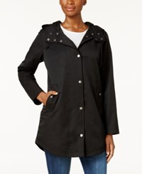 Style And Co Petite Rainy Day Hooded Utility Jacket Created For Macy's Deep Black