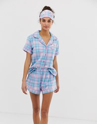 Chelsea Peers Check Print Revere Pyjama Set With Pocket Dogs With Eyemask Multi