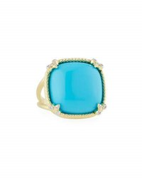 Jude Frances Turquoise Cushion Fleur Cocktail Ring W Diamonds