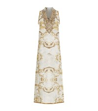 Elizabeth Hurley Beach Embroidered V Neck Sleeveless Maxi Dress Female White